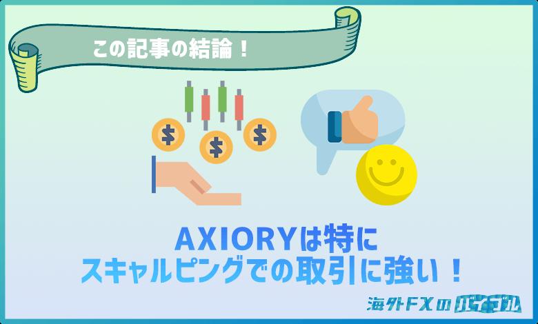 AXIORY(アキシオリー)はスキャルピングでの取引に強い!