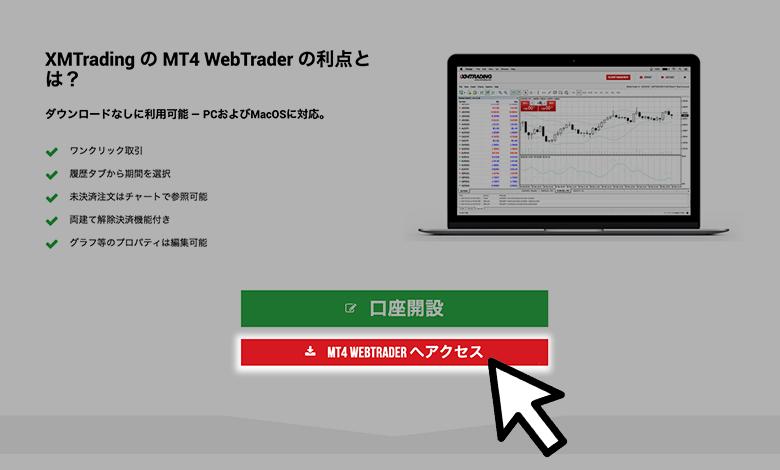 XMのデモ口座の解説方法「MT4のウェブトレーダーへのアクセス