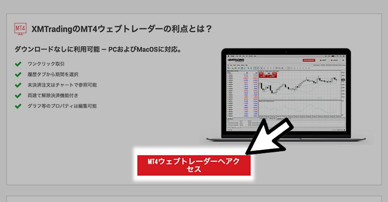 XMのMT4のウェブトレーダーにアクセス
